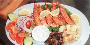 Prawns with salad and vegetables
